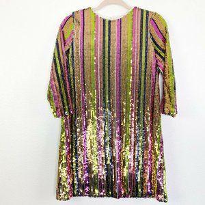 Boohoo Womens 3/4 Sleeve Rainbow Mini Dress Size 4